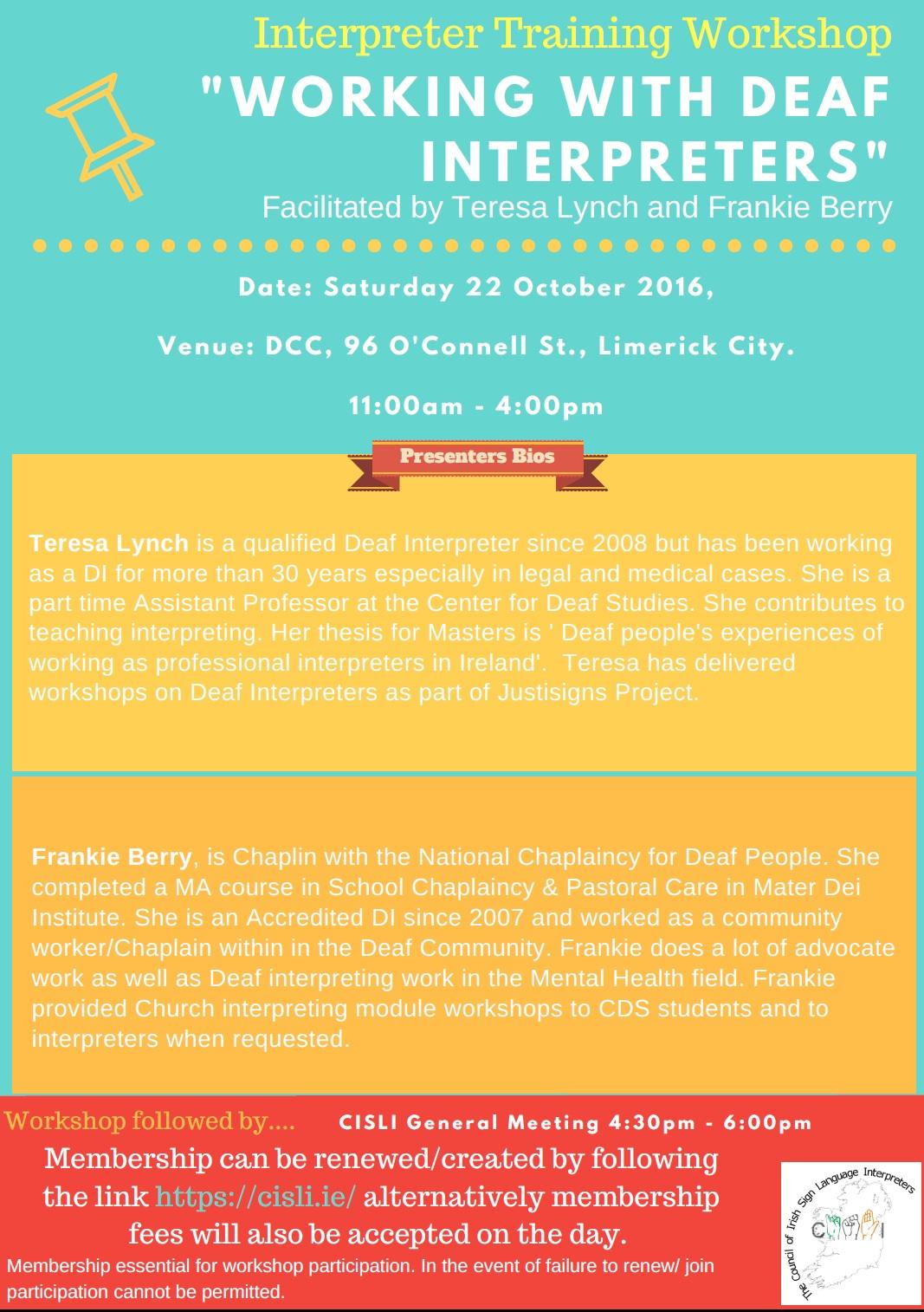 CISLI Workshop 22 Oct Limerick - Working with Deaf Interpreters - Poster.jpg